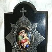 SOLD Hand Painted Porcelain Miniature Art Virgin Mary & Infant Jesus Our Lady Of The Table Fre