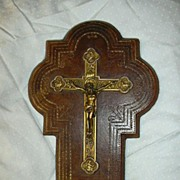 SALE French Crucifix & Holy Water Font Leather & Porcelain