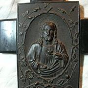 Antique Gutta Percha Jesus Sacred Heart Holy Water Font