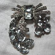 Eisenberg Original Sterling Silver Rhinestone Fur Clip With Icy Blue