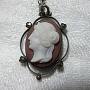 Unusual Old Cameo Pendant Necklace Fine Jewelry