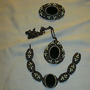 Old Parure Necklace Brooch Bracelet Black & Enamel