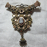 Victorian Pin Carved Shell Cameo & Garnets Fine Antique Jewelry