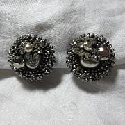 Miriam Haskell Rhinestone Seed Bead & Faux Pearl Earrings
