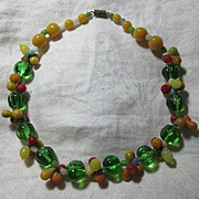 Old Glass Fruit Necklace Choker Beads