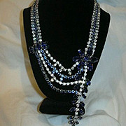 Fabulous Draped Rhinestone & Sapphire Blue Stones Necklace