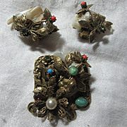 Unsigned Selro Brooch Pendant & Clip Earring Set