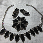 Black & Rhinestone Necklace Brooch &  Earring Set Parure