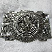 Sterling Marcasite Faux Diamonds Brooch Art Deco