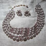 Lilac Faux Pearls Beads Necklace & Clip Earring Set Demi Parure