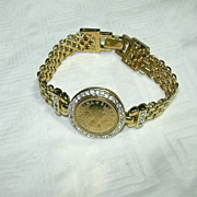 SOLD Panetta Gold Tone Bracelet Queen Elizabeth II Medallion