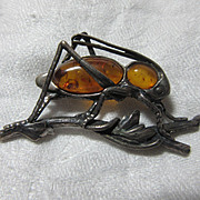 Sterling Silver & Amber Grasshopper Pin