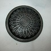 Set Large Impressive Old Black Buttons Filigree Overlay