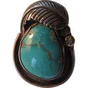 Native American Silver Turquoise Ring Size 9