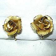 Lisner Gold Tone Metal Roses Clip Earrings