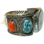 Native American Silver Turquoise & Coral Mans Watch & Waltham Self Winder