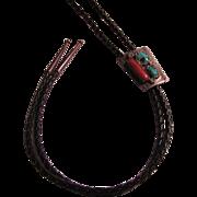 Native American Bolo Turquoise Coral Silver