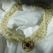 Vintage Richelieu Faux Pearls Jeweled Pendant Elegant Necklace Fine Designer Costume Jewelry
