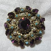 Austria Brooch Pin Purple & Turquoise Stones