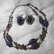 Demi Parure Purple Art Glass Beads Necklace & Clip Earrings