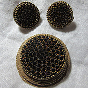 Robert Gold & Black Demi Parure Brooch Earring Set