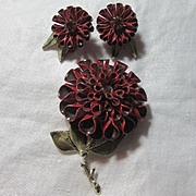 Coro Red Flower Pin Earring Set Signed Vintage Costume Jewelry