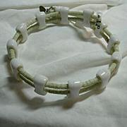 SALE PENDING Miriam Haskell Choker Collar Necklace Milk Glass & Sea Green Beads