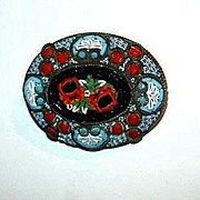 Italian Mosaic Pin Brooch Fine Vintage Costume Jewelry From Italy