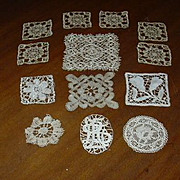 Set 12 Pieces Old Needle Lace Squares