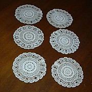 Set 6 Old Crochet Linen Rounds Coasters Doilies