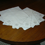 Set 6 Old Pure Linen Napkins With Embroidery Trim