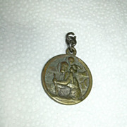 Old Bronze Signed French St Christopher Medal