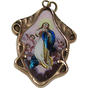 Virgin Mary Assumption Medal Medallion 14K Gold Borders Hand Painted Enamel