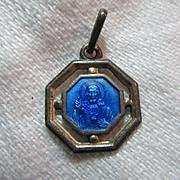 Blue Enamel Scapular Medal Jesus Sacred Heart Mary Our Lady Mt Carmel Fine Catholic Christian