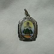Hand  Painted Or Printed Jesus Infant Of Prague German Medal