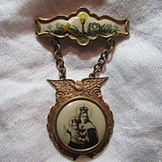 Old Celluloid Art Mary Crowned With Infant Jesus Medal