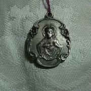 Sterling Silver Scapular Medal Our Lady Mt Carmel & Jesus Sacred Heart