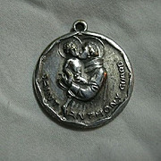 Large Silver Metal St Anthony Guard Medal