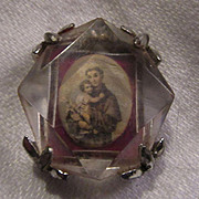 Old St Anthony Medal With Lucite