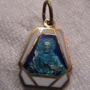 Old Blue Enamel Scapular Medal Jesus Sacred Heart Our Lady Mt Carmel