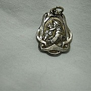 Sterling Silver St Anthony Medal Art Deco Design