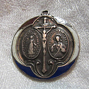 Sterling Silver Red White Blue Enamel Miraculous & Scapular Old Medal