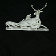 Nymphenburg Porcelain Rare Stag Deer With Wolves Hunting Figurine