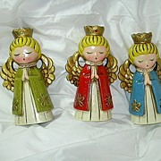 Set 3 Old Angel Christmas Candleholders  Japan