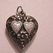 Sterling Silver Heart Charm Pair Hearts In A Heart With Flowers From A Collection of Fine Puff
