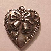 Sterling Silver Heart Charm Wedding or Christmas Bells Repousse Border From a Collection of Pu