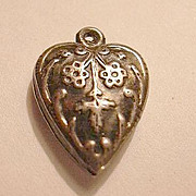 Sterling Silver Heart Charm Flower or Snowflake Repousse From a Fine Collection of Puffy & Ste