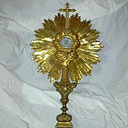 Ornate Gilt Monstrance In Original Wood Case With Luna