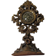 St Vincent De Paul Carved Wood Large Standing French Reliquary