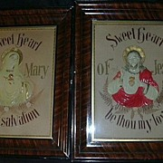 German Paper Punch & Embroidery Jesus  & Mary Sacred & Immaculate Heart Icon  House Blessing .